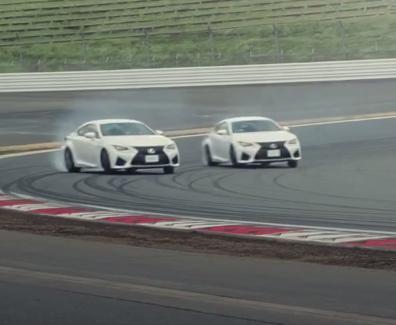 La familia 'F' de Lexus haciendo drifting en Fuji