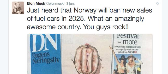 Elon Musk - Noruega libre de vehículos de combustión interna